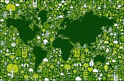 De kaart van de Bol van de aarde met groene pictogrammenachtergrond Stock Foto's
