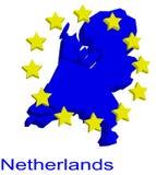 De kaart van de contour van Nederland Stock Fotografie