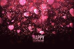 De kaart van de Dag van de gelukkige Valentijnskaart met harten Royalty-vrije Stock Foto's