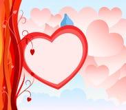 De Kaart van de Dag van de valentijnskaart met abstracte hartachtergrond Stock Afbeeldingen