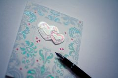 De kaart van de Dag van de valentijnskaart ` s stock afbeeldingen