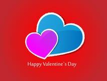De kaart van de Dag van de valentijnskaart \ 's. Vector illustratie. Stock Foto