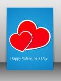 De kaart van de Dag van de valentijnskaart. Vector illustratie. Royalty-vrije Stock Fotografie