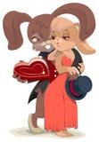 De kaart van de Dag van valentijnskaarten Konijn die zijn geliefd omhelzen royalty-vrije illustratie