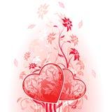 De Kaart van de Dag van valentijnskaarten met bloemen Stock Foto