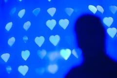 De Kaart van de Dag van valentijnskaarten met harten en silhouet Stock Fotografie