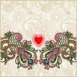 De kaart van de Dag van Valentin met hart Stock Foto