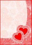 De kaart van de Dag van Valentin met hart Stock Fotografie
