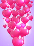 De Kaart van de Dag van Valentin ` s met Harten. Royalty-vrije Stock Afbeeldingen