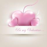 De kaart van de Dag van Valentin ` s met harten Stock Fotografie