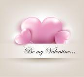De kaart van de Dag van Valentin ` s met harten Royalty-vrije Stock Afbeeldingen