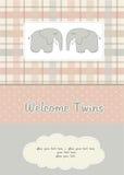 De kaart van de de babydouche van tweelingen met twee olifanten Royalty-vrije Stock Afbeeldingen