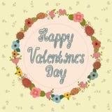 De kaart van de de daggroet van de gelukkige valentijnskaart Bloemen frame Stock Afbeelding