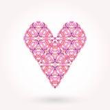De kaart van de de daggroet van de valentijnskaart Modern gesierd vlak gestileerd hart Royalty-vrije Stock Foto