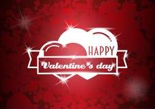 De Kaart van de de daggroet van gelukkig Valentine, vlieger of afficheconcept met twee harten Stock Afbeeldingen
