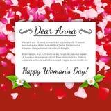 De kaart van de de Daggroet van gelukkige Vrouwen, giftkaart op bloemblaadjes achtergrondontwerp 8ste Maart Stock Fotografie