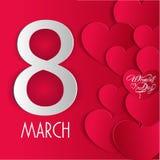 De kaart van de de Daggroet van gelukkige Vrouwen, giftkaart op roze achtergrond met ontwerp van vrouwen en tekst 8ste Maart Stock Afbeeldingen