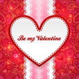 De kaart van de de daggroet van valentijnskaarten met hart en lint Stock Fotografie