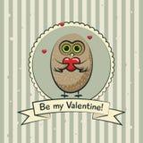 De kaart van de de daggroet van Valentine met uilen Vector Stock Foto's