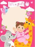 De kaart van de de doucheuitnodiging van het babymeisje met grappige giraf, olifant Stock Fotografie