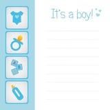 De kaart van de de jongensaankomst van de baby Stock Afbeeldingen