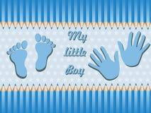 De kaart van de de jongensaankondiging van de baby. vector illustratie Stock Afbeelding