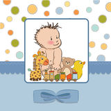 De kaart van de de jongensdouche van de baby Stock Afbeelding
