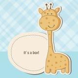 De kaart van de de jongensdouche van de baby met giraf Stock Afbeelding