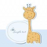 De kaart van de de jongensdouche van de baby met giraf Stock Fotografie