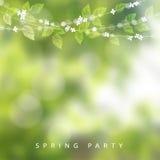 De kaart van de de lentegroet, uitnodiging Koord van lichten, bladeren en kersenbloesems Moderne vage achtergrond, tuinpartij stock illustratie