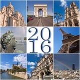 de kaart van de de reiscollage van Parijs van 2016 Royalty-vrije Stock Afbeelding