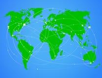 De kaart van de de reiswereld van de illustratie Stock Foto's