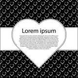 De kaart van de de valentijnskaartendag van de liefde Zwarte harten en witte achtergrond met tekstkader Stock Fotografie