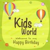 De kaart van de de vieringsuitnodiging van de jonge geitjesverjaardag Stock Foto