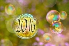 de kaart van de de zeepbelgroet van 2016 Stock Fotografie