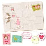 De Kaart van de Douche van het Meisje van de baby met reeks zegels Royalty-vrije Stock Fotografie