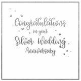 De Kaart van de eenvoudige, Zilveren bruiloftverjaardag stock fotografie