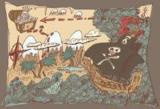 De Kaart van de eilandschat, Gegraveerde Illustratie Royalty-vrije Stock Afbeelding