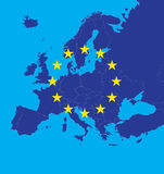 De kaart van de Europese Unie met sterren Stock Fotografie