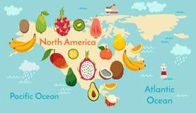 De kaart van de fruitwereld, Noord-Amerika Stock Fotografie