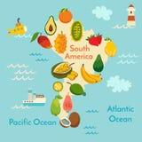 De kaart van de fruitwereld, Zuid-Amerika Stock Afbeeldingen