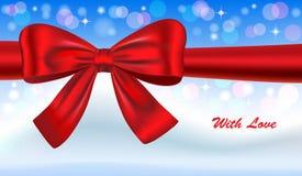 De kaart van de gift met rode boog Royalty-vrije Stock Foto's