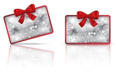 De kaart van de gift met rood lint Royalty-vrije Stock Fotografie
