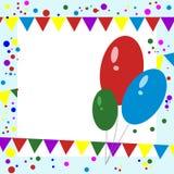 De kaart van de groet Ballons, Confettien en Slingers Royalty-vrije Stock Foto's