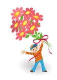 De kaart van de groet - jongen met bloemen Royalty-vrije Stock Afbeelding