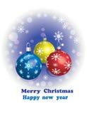 De kaart van de groet, Kerstmisbal Stock Foto