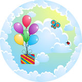 De kaart van de groet met ballons Royalty-vrije Stock Fotografie