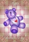 De kaart van de groet met blauwe teddybeer Stock Foto