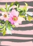 De Kaart van de groet met bloemen Stock Foto