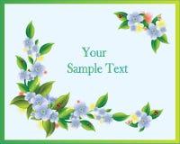 De kaart van de groet met bloemen en onzelieveheersbeestjes royalty-vrije illustratie